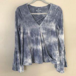 AEO Soft&Sexy tie dye faux wrap bell sleeve blouse